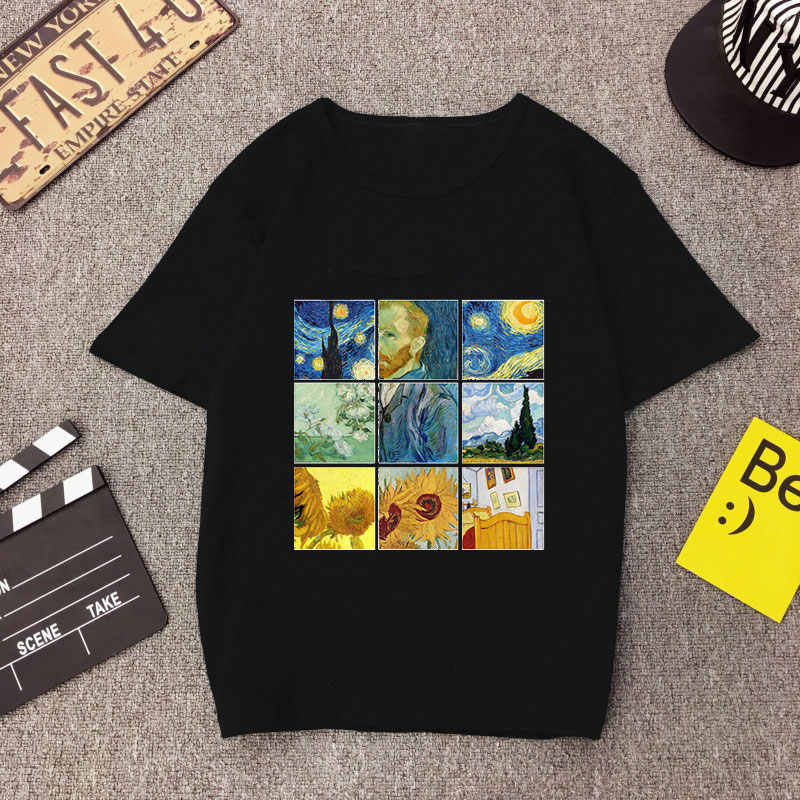 David Van Gogh Kunst Print Harajuku Casual Dame Top Lustige T Hemd Tumblr T Shirt Mode Graphic Tees Ästhetische Frauen t-shirt