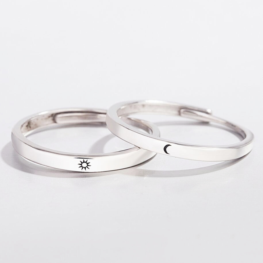 Sole Memory Sweet Romantic Valentine's Day Gift Sun Moon Love Vow 925 Sterling Silver Female Resizable Opening Rings SRI377