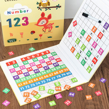 1-100 Number Board Games Montessori Toys Kids Magnetic Count Drawing Educational Toy For Children Early Learning Math Toys Gifts 1