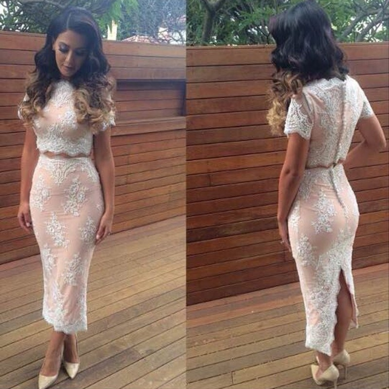 Vestido De Festa Button Lace Party Beading New Fashion Women Short Sleeve Sexy 2 Piece Prom 2018 Mother Of The Bride Dress
