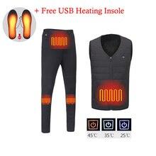 Winter Men USB Electric Heated Set Thermal Underwear Fever Vest+Fleece Pants Heating Ski Outdoor Hiking Climbing Clothing