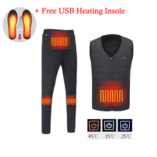 Winter Men USB elektryczny podgrzewany zestaw bielizna termiczna gorączka kamizelka + spodnie polarowe ogrzewanie narciarskie Outdoor Hiking odzież wspinaczkowa
