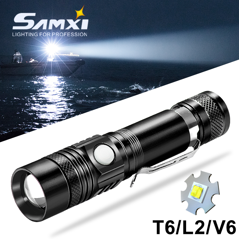 T6/L2/V6 LED Flashlight Lamp Beads Zoomable Torch Rechargeable USB Led Tactical Flashlights Waterproof Linterna With 18650
