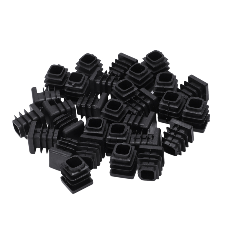 Square Table Chair Leg Feet Tube Pipe Insert Cap 30pcs Black