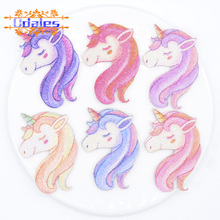 24Pcs/lots Colorful Unicorn Printed Patches Fly Horse Lovely Animal Appliques Stick-on Cake DIY Crafts Supplies Shoe Accessories