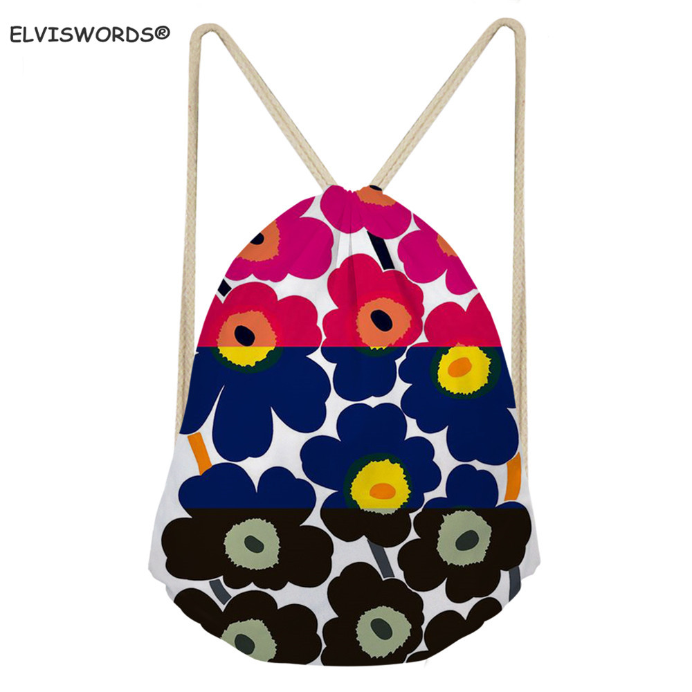 ELVISWORDS Colorful Poppy Flower Pattern Drawstring Backpacks Kids Shool Bags Football Toy Storage Bag Customize Logo Cloth Bags