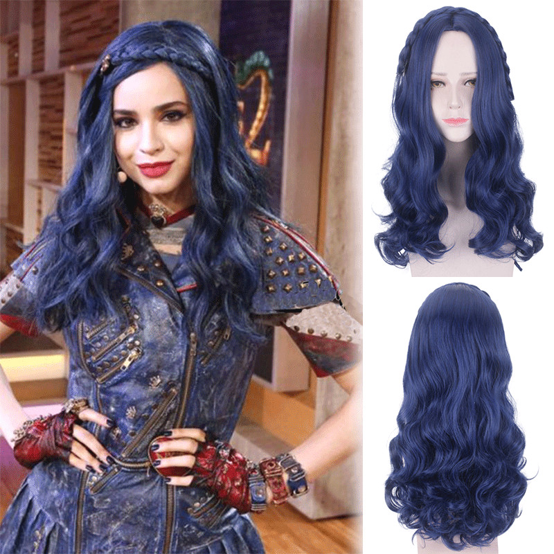 Ktip Up Descendants 2 Evie Long Wavy Wig Cosplay Costume Women Heat Resistant Synthetic Hair Halloween Party Role Play Wigs
