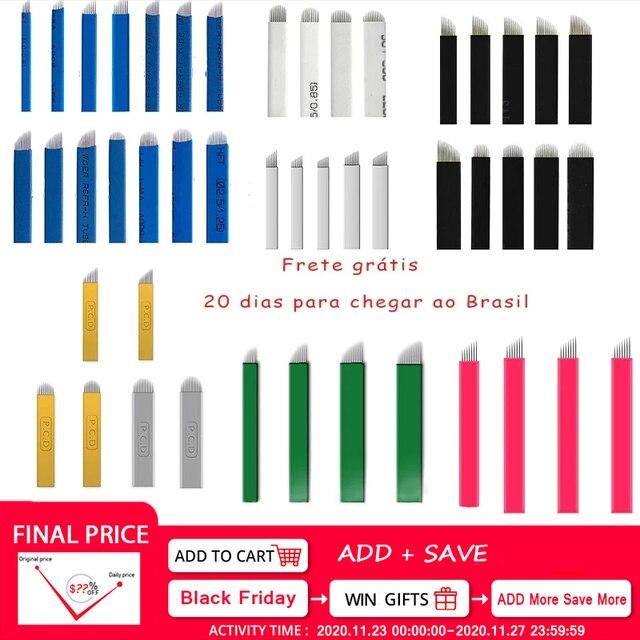100pcs Microblading Needles Nano Agulhas Lamina 다중 파라 플렉스 12 14 16 18 Tebori 수동 눈썹 펜용 모양 문신 블레이드