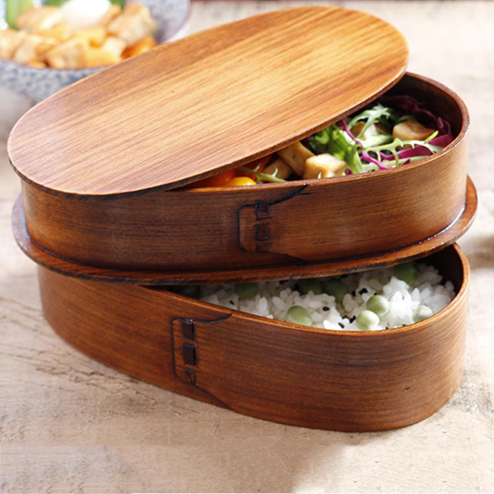 Double Layer Natural Wooden Bento <font><b>Lunch</b></font> <font><b>Box</b></font> Containers Japanese Bento Lunchbox Sushi Portable Food Container Workers Student image