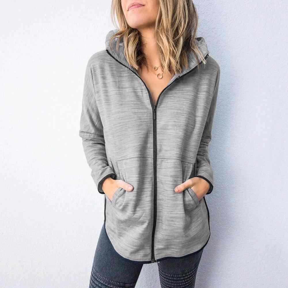 Women Solid Zip Hoodie Open Front Ladies Sweatshirt Jumper Jacket Plus Size Tops