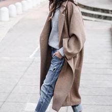 Весна Осень 2020 женское длинное шерстяное пальто модное элегантное