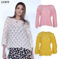 LUXUV-suéteres con cuello de cisne para mujer, cárdigans de punto, sudadera, báscula, Jersey, abrigo de lana de Mohair Y2K