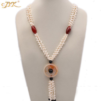 "JYX 618 BIG SALE!Classic Design RED BLACK AGATE necklace with pearls chain 5.5*7-mm elegant 30"" gift"