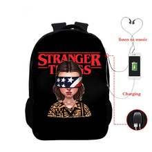 Stranger Things USB Charging Backpack Season 3 Eleven Graphic School Bag Upside Down 3d Printed Schoolbag for Teenager Boys Girl