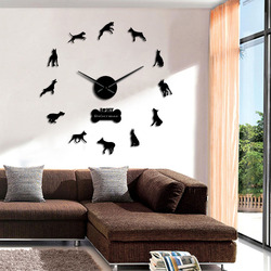 Doberman Pinscher DIY Acrylic Mirror Effect Big Wall Clock Doberman Large Time Clock Dobie Living Room Decorative Wall Watch