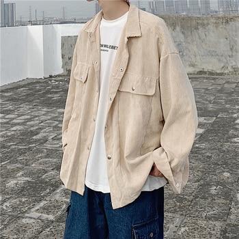 Corduroy Jacket Men's Fashion Solid Color Retro Casual Jackets Mens Streetwear Wild Loose Hip Hop Bomber Jacket Men Outwear