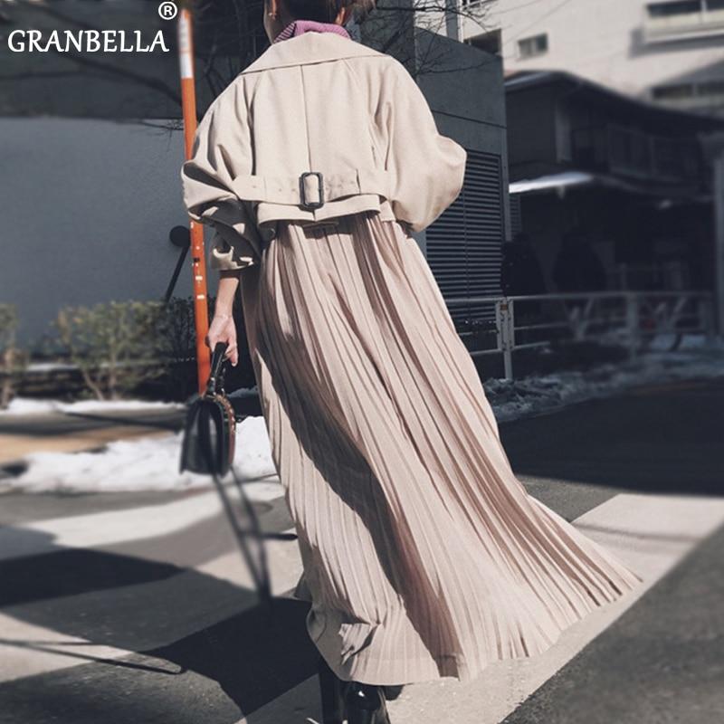 New Spring Windbreaker Coats Female 2019 Fashion Korean Pleated Chiffon Splice Outwear Loose Trench Coat For Women Thin Cloak