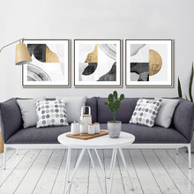 3 Piece Abstract Poster Canvas Painting Gold Green Gray Color Block Geometric Texture Art Print Wall Picture Decor Drop Shipping printed abstract graphics psychedelic nebula space painting canvas print decor print poster picture canvas free shipping ny 5746