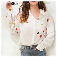 Женская шелковая рубашка с длинным рукавом Silviye, элегантная шелковая рубашка с принтом, женская рубашка с длинным рукавом, рубашка в западно...