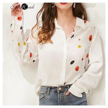 цена Silviye Elegant printed silk silk shirt women's Long Sleeve Silk Top westernized shirt small shirt blusas mujer de moda 2020 онлайн в 2017 году
