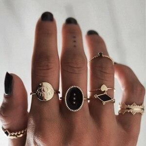 Docona 6 шт./компл., античное Золотое кольцо со злом и сердцем, черные кольца со стразами, набор для женщин, кольцо миди с узлом, ювелирные изделия...