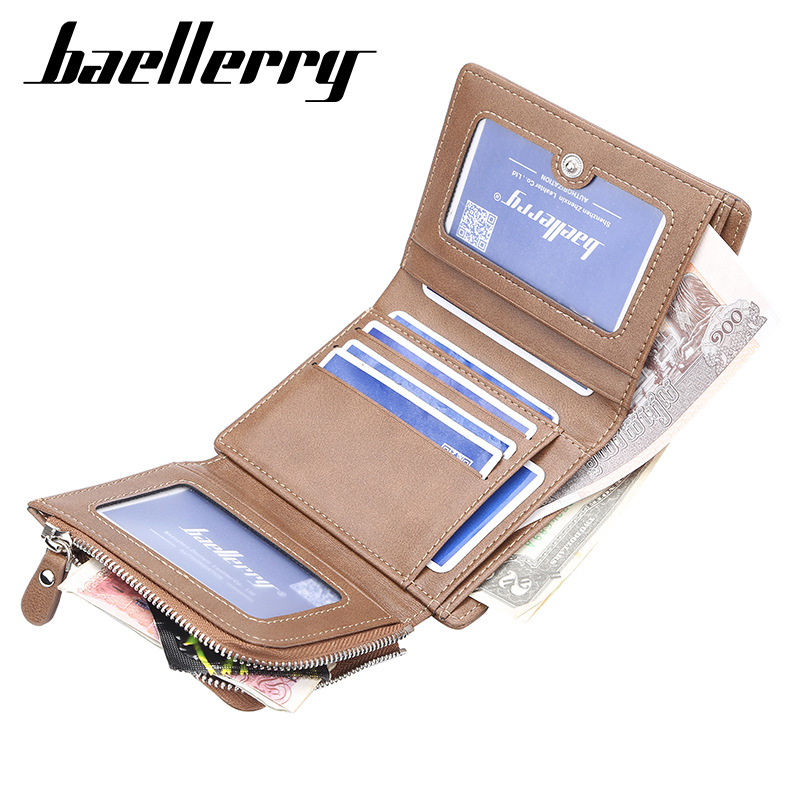 Baellerry PU Leather Men Wallets Short Male Purse With Coin Pocket Card Holder Brand Trifold Wallet Men Clutch Money Bag