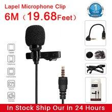 AirMic M-Lav 6M de Audio vídeo Lavalier micrófono de solapa de grabación micrófono Clip micrófono para iPhone Android Smartphone PC