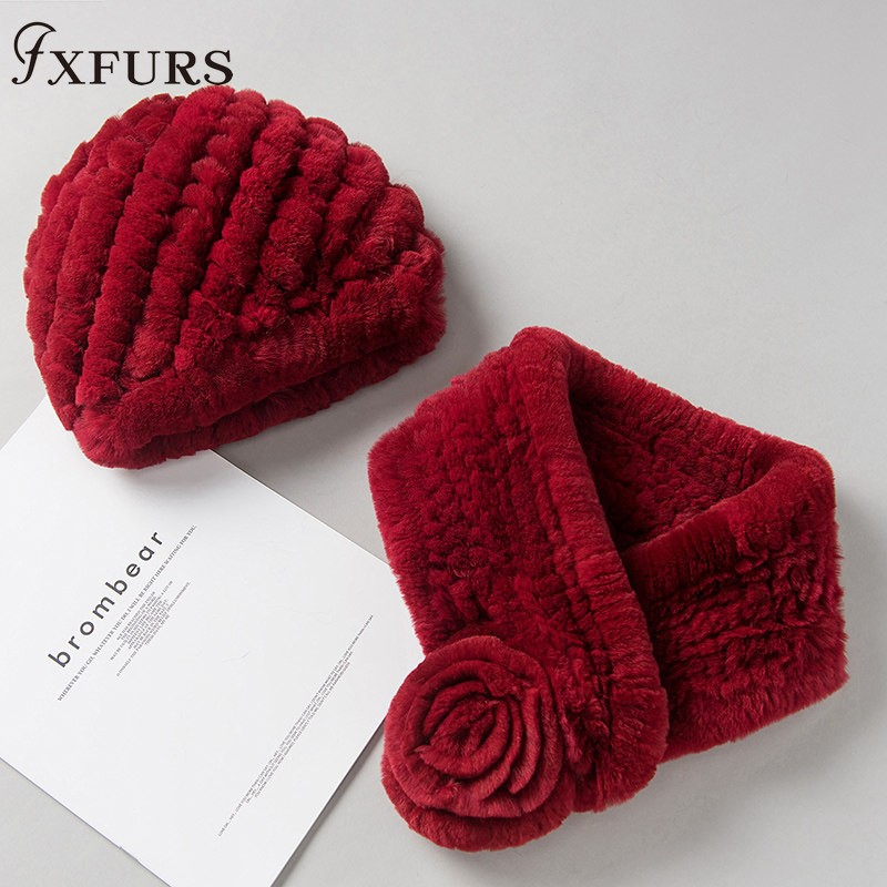 2019 New Women Rex Rabbit Fur Hats Real Fur Scarves One Set Winter Warm Fur Caps Rings Russian Rabbit Fur Beanies Wraps Female