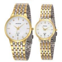Новый брендовый пара часы для влюбленных 2020 Woonun золото полный сталь кварцевые часы ультра тонкие часы для женщин мужчин Валентина подарок