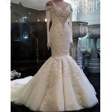 Элегантное Длинное платье русалки с рукавами Свадебные платья