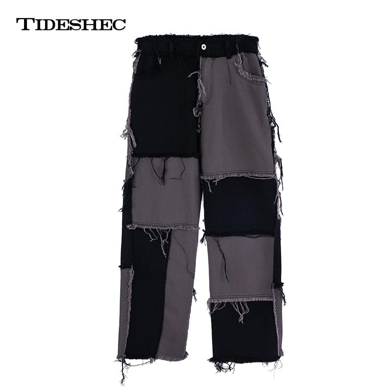 Tideshec Fashion Hip Hop Patchwork Pants Plaid Pants Men Irregular Casual Pants High Street Streetwear Trousers A210