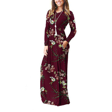 Женское платье макси с принтом, весна 2020, длинное платье с круглым вырезом и карманом размера плюс, Пляжное летнее винтажное женское платье с цветочным принтом в стиле бохо, GV690Платья    АлиЭкспресс