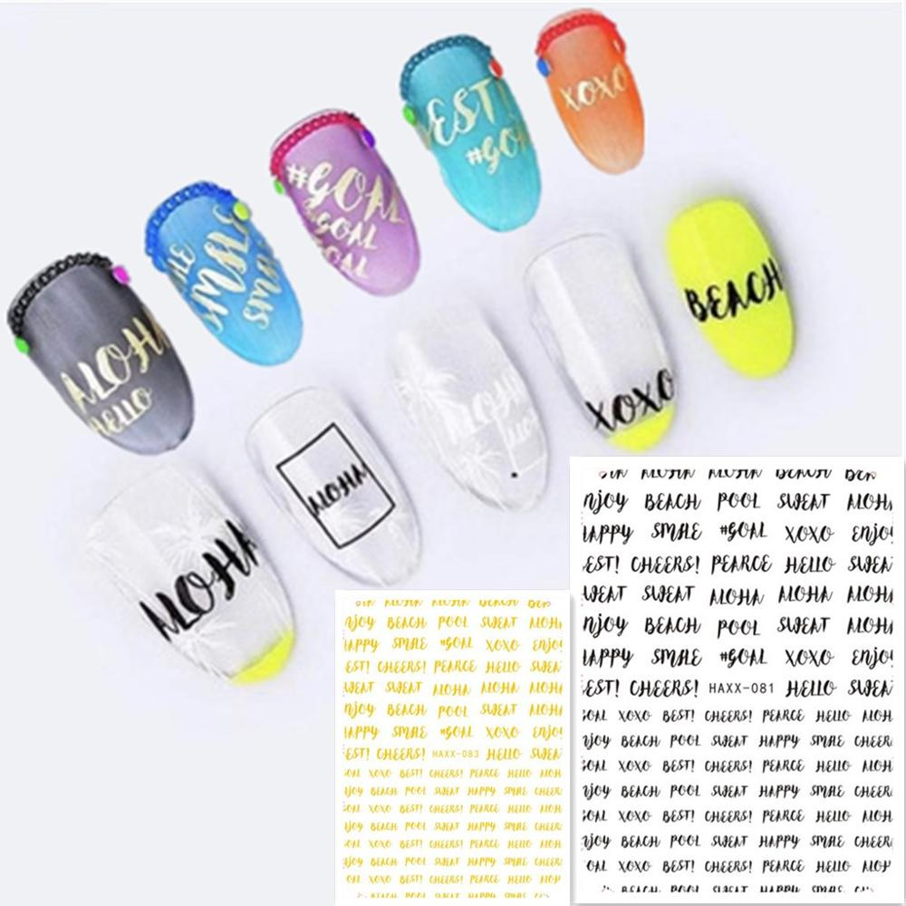 Newest HANYI-081 082 lettering pattern nail stickers art 3d Japan style nail decals back glue DIY decoration for nail wraps