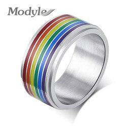 Mostyle, 8 мм, Спиннер, кольцо для снятия стресса для мужчин, нержавеющая сталь, радужные линии, палец, ремешок, повседневная гордость, ЛГБТ, ювели...