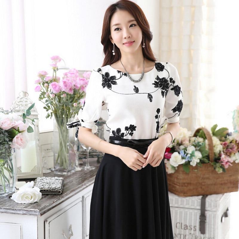 wokeayer Fashion Women Shirt Blouse Summer Tops Chiffon Casual Shirt O Neck Half Sleeve Floral Printing Female Blusas Clothing 2