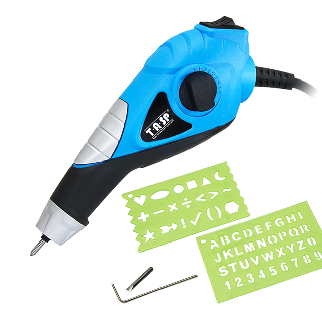 Электрический гравировальный инструмент 230V 13W, ручка для гравировки по дереву, металлу, стеклу, пластику с трафаретом, креативные хобби