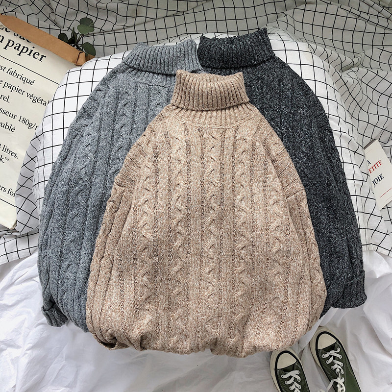 Winter High Collar Sweater Men's Warm Fashion Solid Color Casual Knit Pullover Men Loose Knitting Sweaters Male Sweter Clothes
