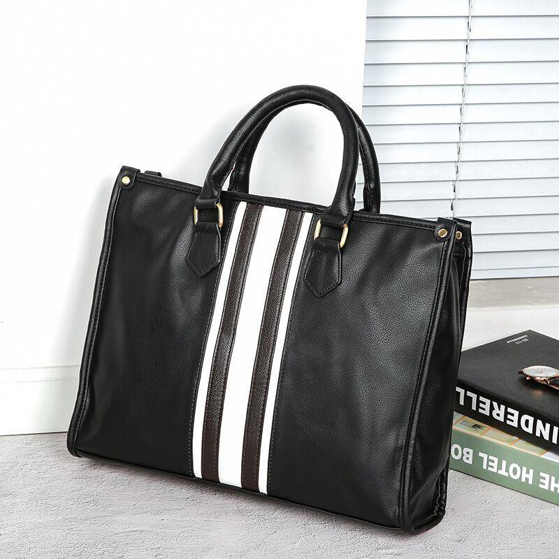 2019 New Fashion Leisure Men's Horizontal Business Briefcase Soft Leather Wear-resistant Large Capacity Computer Bag  Men Bag