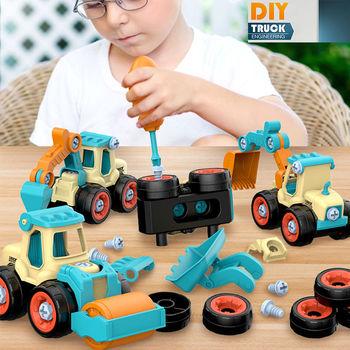 4 Pcs Engineering Bulldozer Crane Technic Dump Truck Building Blocks City Construction Vehicle Car Toy for Children Kids Gift недорого