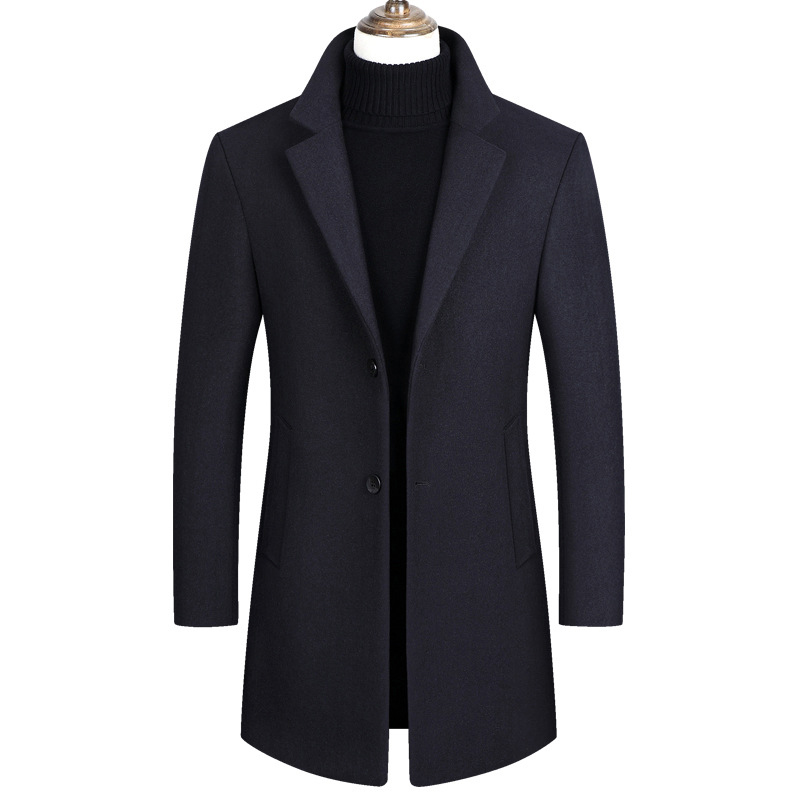 Men Winter Wool Coat Men Autumn Windbreaker Solid Color Simple Wool Blends Woolen Pea Coat Male Trench Coat Overcoat Clothes
