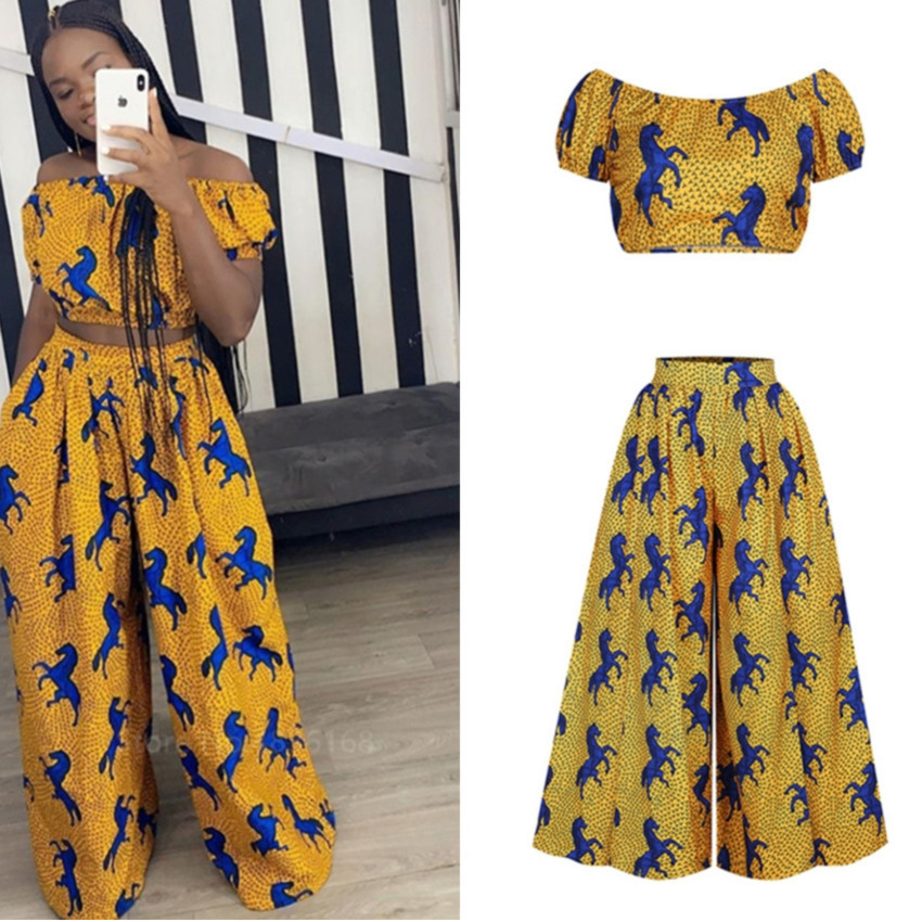 2020 Hot Sale African Dress For Women Shoulder Top Pants Suit Wide Leg Trousers Ankara Robes Africaine Sexy Ladies Dashiki Print