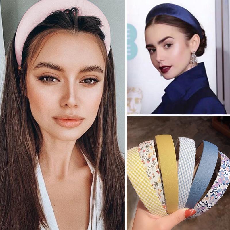 17KM-Diadema acolchada con Valvet para niña y mujer, bandana de algodón gruesa ancha lisa, accesorios para el cabello 2020