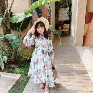 Детское платье с длинным рукавом, цветочным узором и бантом, милое весенне-летнее платье для маленьких девочек
