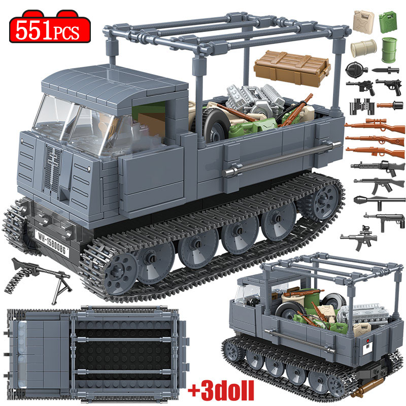 551PCS Military German RS0/03 Half Track Tractor Tank Building Blocks Legoingly WW2 Soldier Figures Bricks Sets Toys For Boys