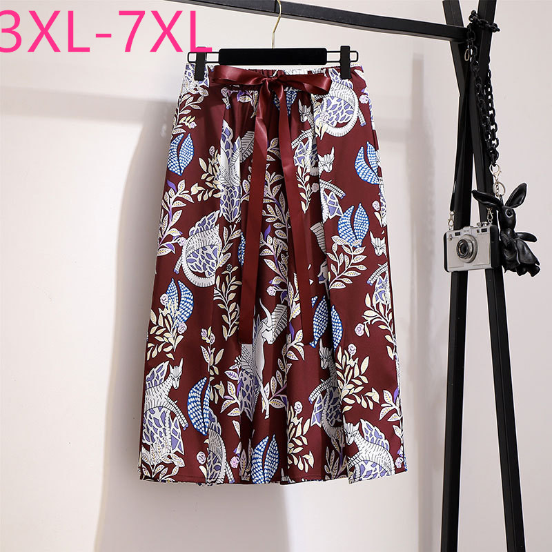 2020 New Summer Plus Size Skirt For Women Large Loose Casual Elastic Elegant Flower Pleated Skirts Belt Wine Red 4XL 5XL 6XL 7XL