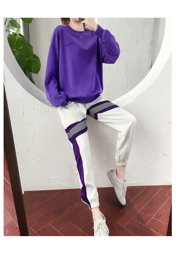 Autumn Winter Purple Two Piece Sets Women Long Sleeve Sweatshirt And Pants Suits Casual Fashion Korean Bf Style 2 Piece Sets 41