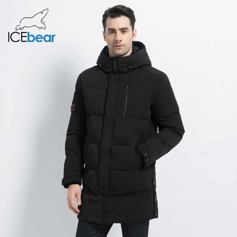 ICEbear 2019 New  Winter Warm Fashion Casual Coat Men Jacket Warm Windproof Hood Men Parkas High Quality Coat  MWD18856I