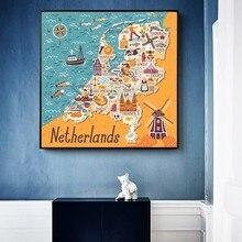 Affiche de toile de dessin animé moderne de grande taille, carte des pays-bas, tableau d'art mural imprimé pour décor de salon