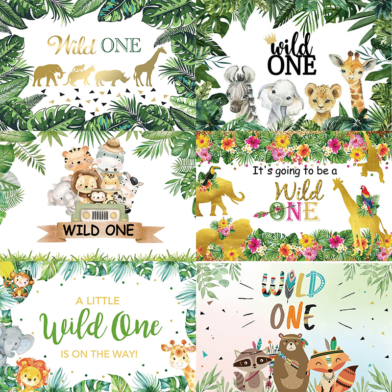 Wild One Backdrop Boy Jungle Safari Custom Kids Baby Shower Happy Birthday Party Decoration Photography Backgrounds Banner