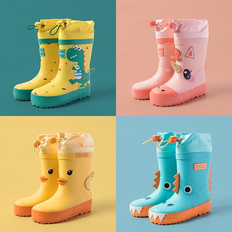 Jednorożec dziecięce kalosze chłopiec dziewczyna wodoodporne buty nowe kreskówki drukowane moda dzieci kalosze z łydki wodoodporna pokrywa